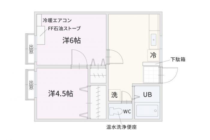 弘前市のアパート・賃貸 トミノスクエア 間取り